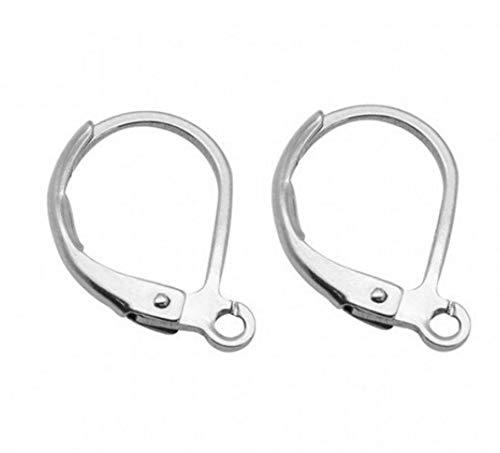 100pcs Hypoallergenic Earring Hooks Leverback Ear Wires Earwire 15mm Long Sterling Silver Plated Brass CF193-1