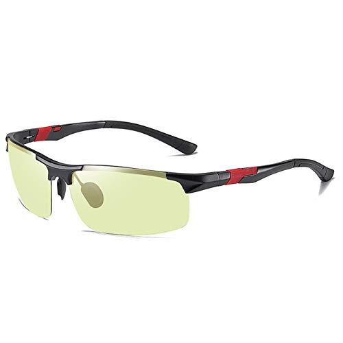 HDSJJD Gafas De Sol Polarizadas De Aluminio Y Magnesio Que Cambian De Color para Hombres-UV400 Gafas De Sol Deportivas De Medio Marco-Montar con Gafas De Visión Nocturna,I