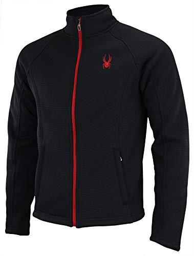 Spyder Men's Stellar Jacket Sherpa Lined Bonded Fleece (Black/Red, Medium)