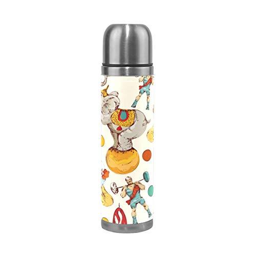 Thermos ThermoCafé Botella térmica aislada, Circo Elefante León Payaso,Frasco de Vacío de Acero Inoxidable 500 ml