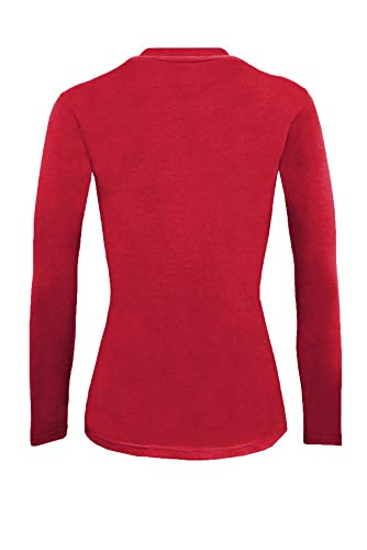 Natural Uniforms Women's Under Scrub Tee Crew Neck Long Sleeve T-Shirt (Red, Large)