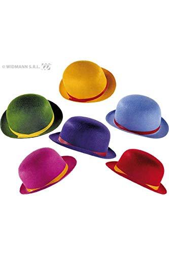 Widmann 3263C - Melonen Hut aus Filz, farblich Sortiert, Flizhut, Clown, Kopfbedeckung, Mottoparty, Karneval, Rot, Pink, Grün, Gelb, Lila Oder Blau, Einheitsgröße