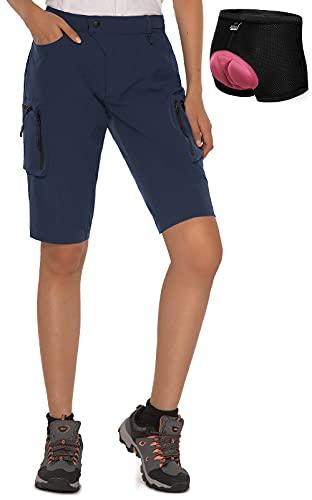 Cycorld MTB Shorts Damen Radhose, MTB Hose mit Innenhose und hochwertigem Sitzpolster, Schnelltrocknend Fahrradhose Damen Mountainbike Shorts Outdoor Shorts (Navy mit Unterwäsche, M)