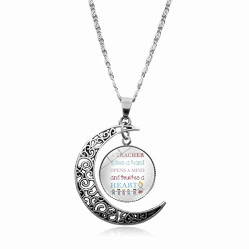 DZX Women Necklace,Time Gemstone,Cute Kid Teacher Text Europe And America Necklace Crystal Pendant Time Gemstone Half Moon Necklace Handmade Jewelry Clavicle Chain,Art Charm Pendant