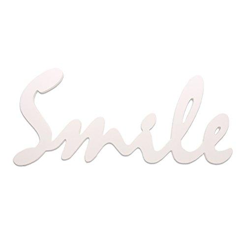SUPVOX Smile Letrero de Madera Decoración para Hogar Colgante Decorativo Signo de Palabra Recorte Palabra Decoración de Pared Apoyos de Fotos (Blanco)