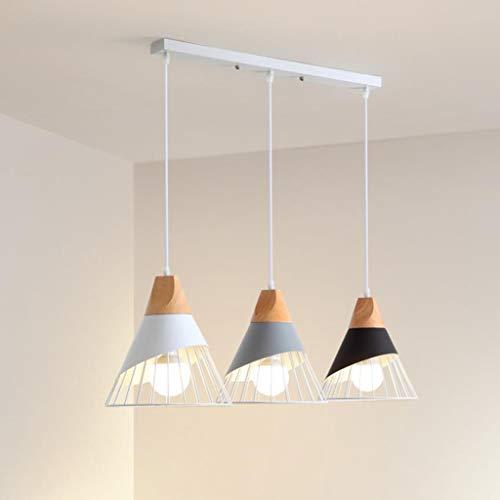 Lámpara colgante Lámpara de techo Sala de estar 3-Heads lámpara de madera y metal que cuelga de la lámpara de techo for Bar Restaurante Tienda de ropa de la decoración del accesorio de iluminación