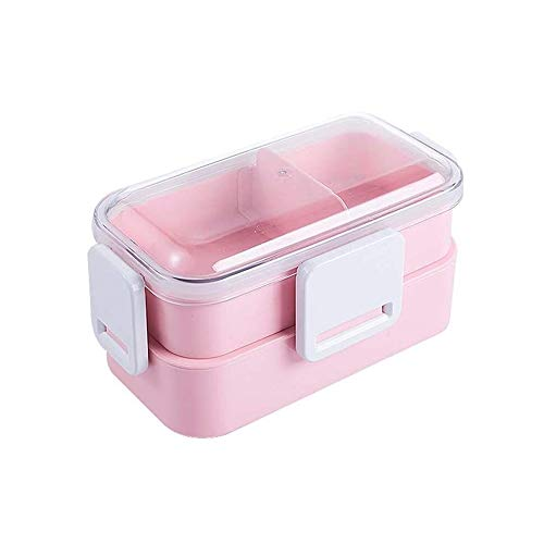 CHENCfanh fiambrera Box lunch Cubiertos, Oficina de la Escuela de contenedores de almacenamiento de alimentos portátil Fiambrera, reutilizable a prueba de fugas doble Fiambrera, adecuados for uso al a