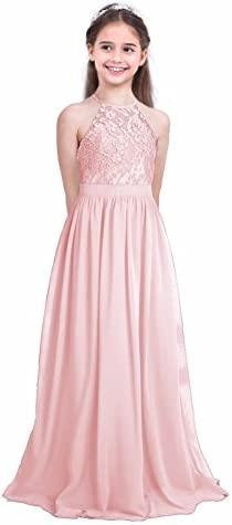 iEFiEL Girls Halter Lace Chiffon Flower Wedding Bridesmaid Dress Junior Ball Gown Formal Party product image