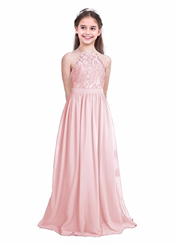 iEFiEL Girls Halter Lace Chiffon Flower Wedding Bridesmaid Dress Junior Ball Gown Formal Party Pageant Maxi Dress Pearl Pink 10