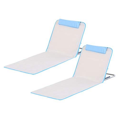 Outsunny Conjunto de 2 Esterillas de Playa con Respaldo Reclinable en 5 Niveles Bolsa de Transporte y Reposacabezas 48x134x36-45 cm Beige