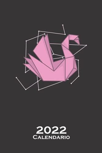Cisne de origami como forma de papel Calendario 2022: Calendario anual para Abanicos japoneses de papel plegado