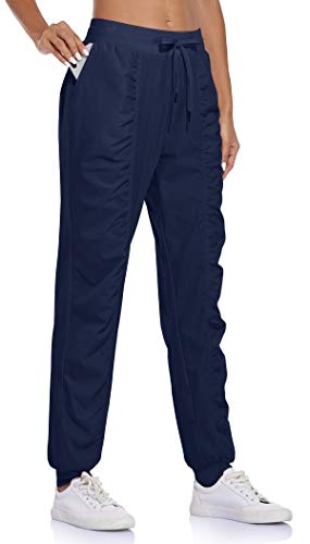 BLEVONH Women Outdoor Pants,Ladies Elastic Waistband Breathable Light Hiking Pant Womens Solid Color Stretch Cuff Athletic Sports Sweatpants Ladies Waterproof Recreation Workout Outdoor Jogger Navy L