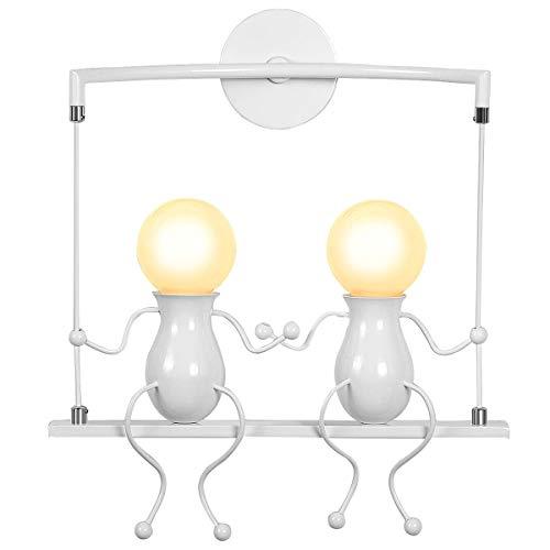 KAWELL Humanoide Creativo Lámpara de Pared Moderno Luz de Pared Apliques de Pared Art Deco Max 60W E27 Base para Habitación para Niños, Dormitorio, Escaleras, Pasillo, Restaurante, Columpio Blanco x2