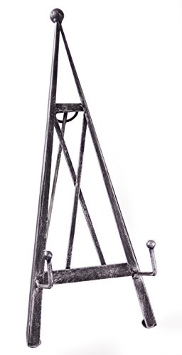 Red Co. Industrial Style Decorative Plate Stand and Art Holder Easel in Brushed Silver Finish - 15' H