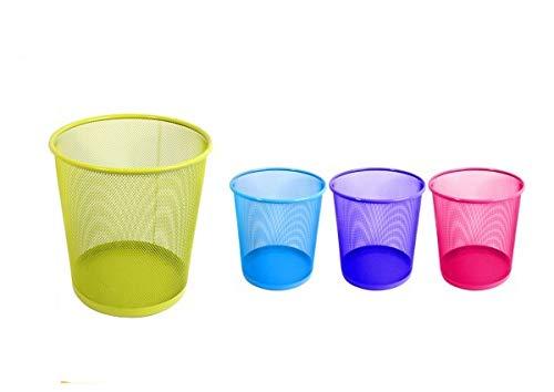 2Uds Papelera metal - papelera multicolor azul/verde/rosa/morado - basurera para oficina/hogar/salon - Papelera rejilla forma redonda – pack de 2 unidades- (Verde, L)