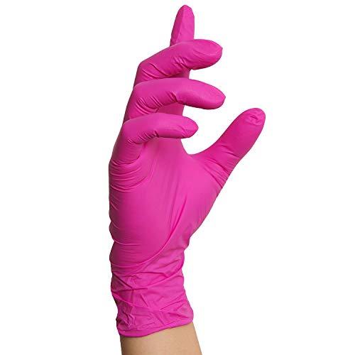Nitrilhandschuhe Pink Magenta, Einmalhandschuhe, 100 Stück (L)