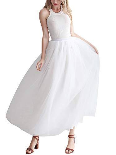 Mujer Falda de Tul Larga de Tul Plisada Tutu Malla de Noche Fiesta Cintura Alta Blanco