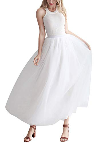 Aysimple Damen Lang Maxi Tüllrock Hochzeitsrock Abendkleid A Linie Tüll Rock Weiß
