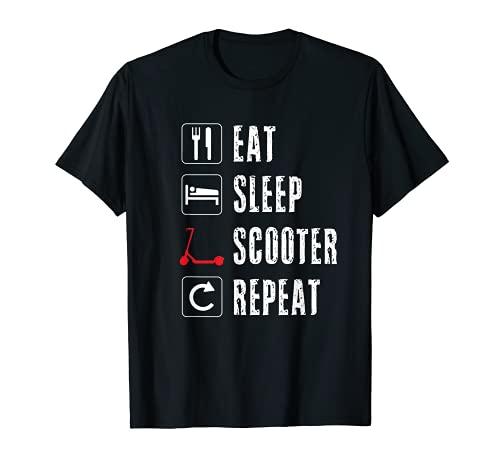 Eat Sleep Scooter Repetir Scooter eléctrico retro vintage Camiseta