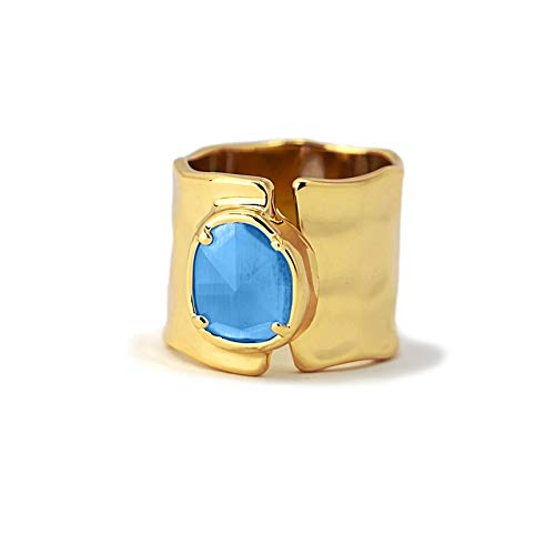 Anartxy Anillo Colleccion Sunflower con Piedra Ojo de Gato Azul para Mujer de Acero Color Dorado Talla 16, Mejor Regalo