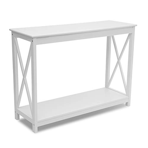 ASSR Mesa consola con estante, mesa auxiliar de diseño industrial, aparador de almacenamiento, mesa de entrada industrial, estante de mesa multifuncional, color blanco