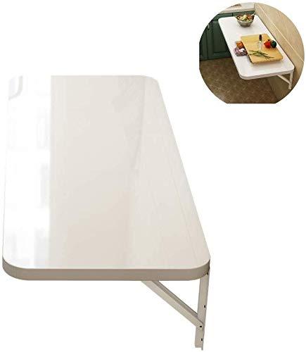 Aan de muur bevestigde klap tafel Klaptafel for wandmontage, aan de muur gemonteerde opklapbare plank beugel, ruimtebesparende studie hangende tafel, geschikt for doe diverse ruimtes binnenshuis, wit