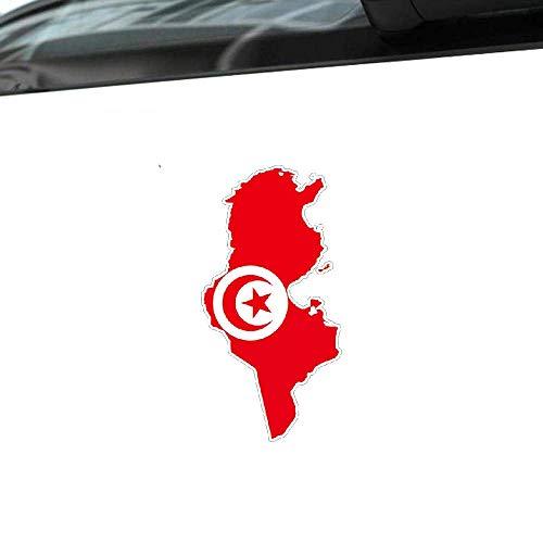 Etiqueta engomada creativa del coche Mapa de Túnez Bandera Etiqueta de vinilo Cubierta Rasguños para Jaguar Hyundai Ford Focus Chevrolet Aveo, 15 cm * 8 cm