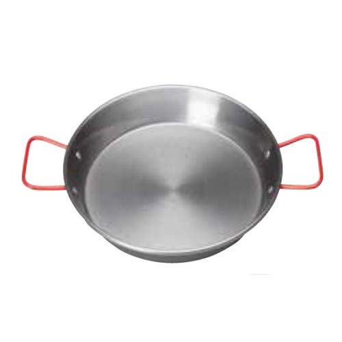 "11"" Paella Pan, Polished Carbon Steel Spanish Mediterranean Food Fry Pan, Spanish Frying Pan with Handles - Winco CSPP-11"