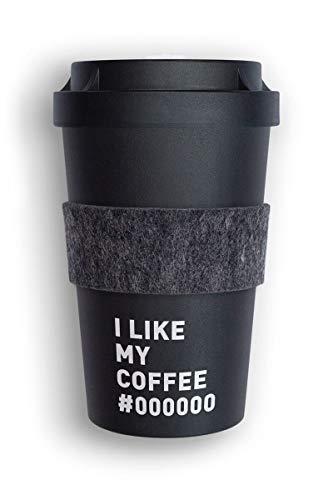 heybico Coffee to go Becher aus Pflanzen hergestellt im Schwarzwald inkl. Veganer Manschette   umweltfreundlich & klimaschonend (I Like My Coffee)
