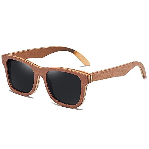 NIUBKLAS Gafas de sol de madera de monopatín marrón Lente de espejo polarizada Hombres Mujeres Gafas de sol de bambú S832 Negro