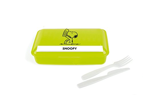 Excelsa Peanuts Behälter mit Besteck Snoopy, grün