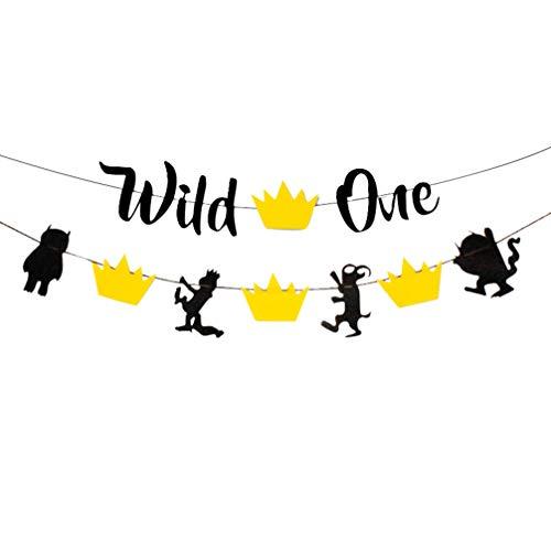 Vosarea Wild One Banner Trona Banner Foto Requisiten para Baby Primer Cumplea/ños Decoraci/ón
