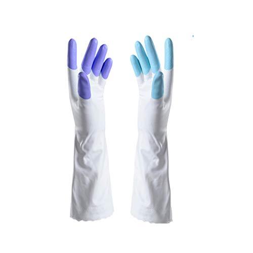 JHEY Cocina Guantes de Limpieza de Goma con Forro Engrosamiento doméstico Guante Impermeable para Lavar Platos 1 par PVC Material de algodón (Color : Purple+Blue, tamaño : L)