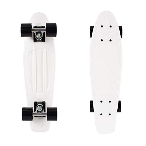 "Retrospec Quip Skateboard 22.5"" Classic Retro Plastic Cruiser Complete Skateboard with Abec 7 bearings and PU wheels"