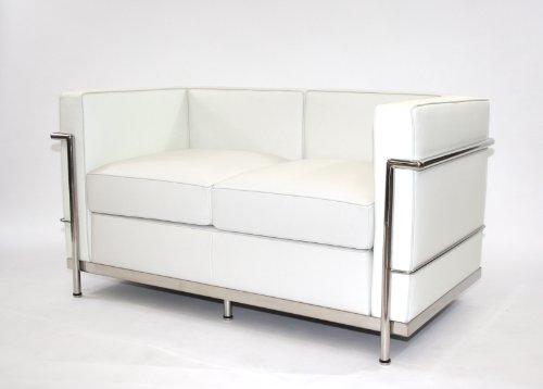 Charles L. Corbusier LC2-2 sofá de piel blanca 2 plazas