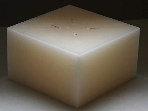 Mehrdochtkerze, Kerze, quadratisch, creme, 15 x 15 x 8 cm, 4 Dochte, groß, Vierdochtkerze, Brenndauer 35 Std.