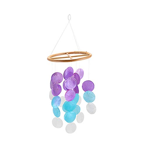 S/V Wind Chime Seashell Capiz Patio Garden Decor Window Suncatcher Maritime Beach Garland for Outdoor Patio, Garden and Home Décor