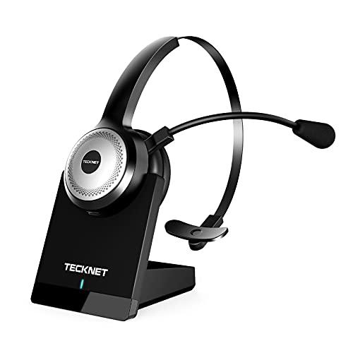 TECKNET Bluetooth Headset mit Mikrofon, PC Headset mit AI Rauschunterdrückung, kabelloses Headset mit Ladestation für Call Center, Computer, Handys, Kristallklar Chat, Super Leicht