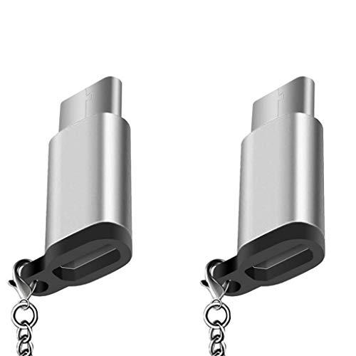 xiaocheng Pack De 4 Puertos USB Tipo C C Adaptador USB a Micro USB Conector Convert con Llavero De Carga con Gancho De Plata Accesorios Electrónicos Portátiles
