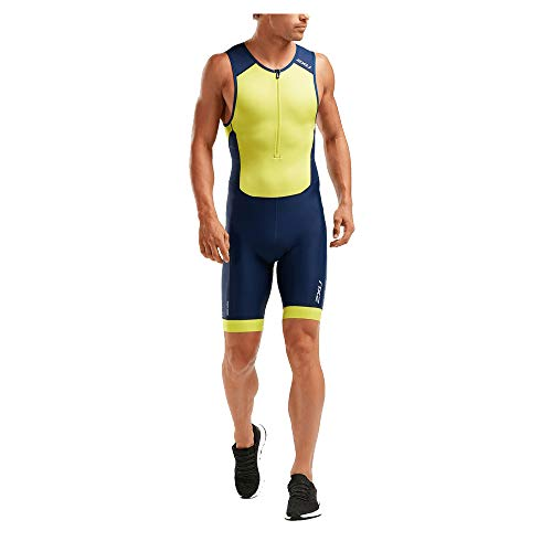 2XU Perform Full Zip Tri Suit Herren Größe XXL, Farbe Navy/Limonade