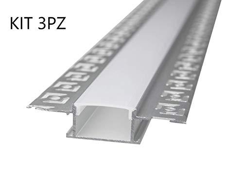 LineteckLED -LP3050- Barra in alluminio, Profilo in Alluminio LP3050 da 2mt Incasso a Scomparsa in Cartongesso per Doppia Striscia a Led Cover Opaca, binario canalina per striscia led (KIT 3 PEZZI)