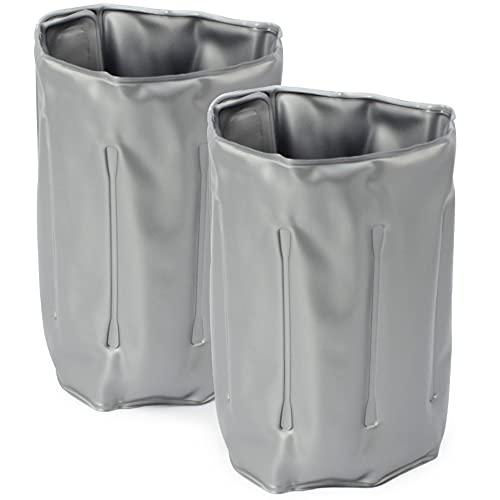 COM-FOUR® 2x Flaschenkühler für unterwegs - Weinkühler-Manschette mit Schnellverschluss - Kühlmanschette zum Kühlen von Bier, Wein und Softdrinks - Sektkühler (02 Stück - 32.8 x 15 cm - grau)