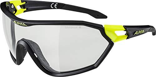 ALPINA Unisex - Erwachsene, S-WAY V Sportbrille, black matt-neon yellow, One Size