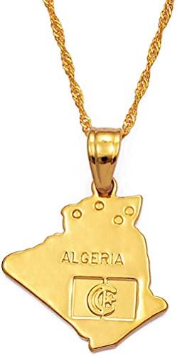 Argelia Mapa Colgante Collar Cadenas Joyas De Color Oro Argelinos Mujeres Niña Artículos Africanos