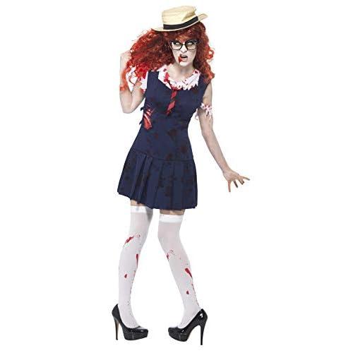 SMIFFYS Smiffy's - Costume da studentessa zombie, incl. vestito alla marinara e cappello, M