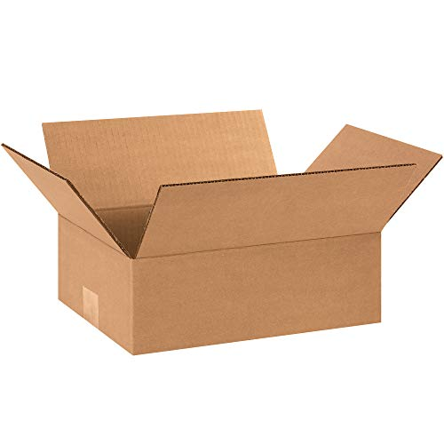 Aviditi 1294 Flat Corrugated Cardboard Box 12' L x 9' W x 4' H, Kraft, for Shipping, Packing and Moving (Pack of 25)