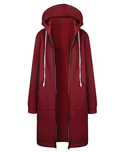 Hifanmall Damen Strickjacke Casual Mantel Hoodie Zipper Hoodies Sweatjacke Langer Manteljacke Oversized Coat Outwear Kapuzenpullover, Rotwein, 42,XL
