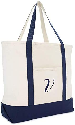 DALIX Monogram Tote Bag Personalized Navy Blue Initial A-Z