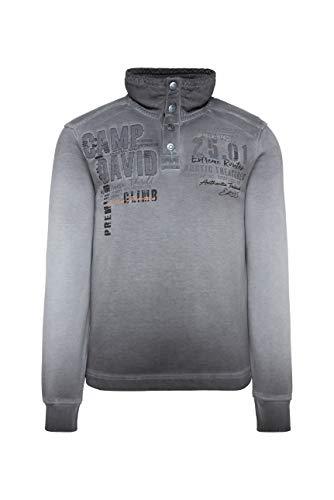 Camp David Herren Sweatshirt mit Troyer-Kragen und Strick-Details