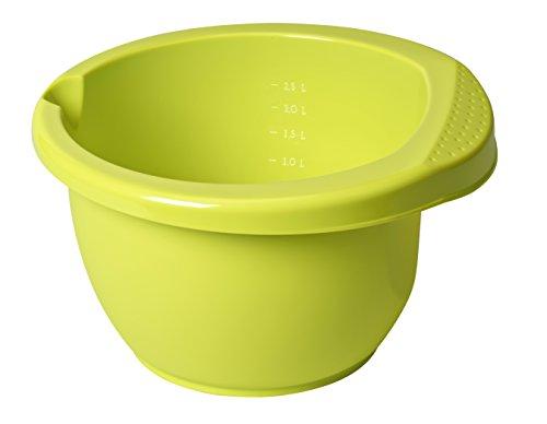 Rotho Rührschüssel Onda aus Kunststoff (PP), mit ergonomischem Griff, Antirutsch-Gummiring, Ausgussmulde, Inhalt, 2,5 l, ca, 26 x 25,5 x 14 cm (LxBxH), Grün Ciotola per Impasto, Verde Lime, 26 cm